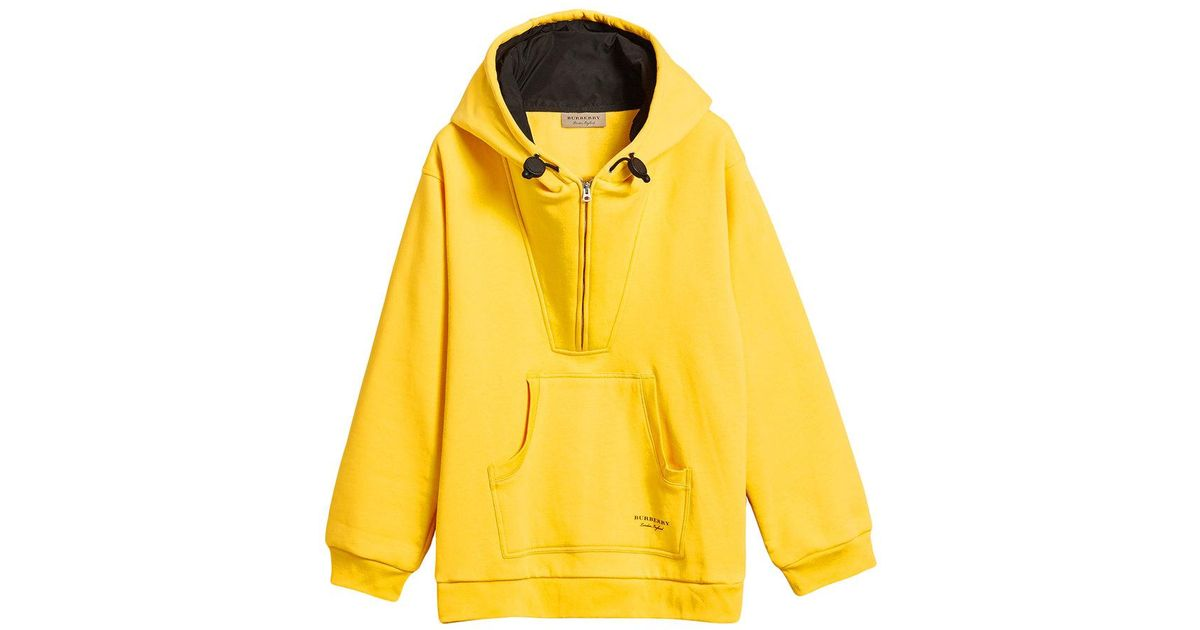 Lyst - Burberry Oversized Sweatshirt Half-zip Hoodie in Yellow for Men 1c72714f26