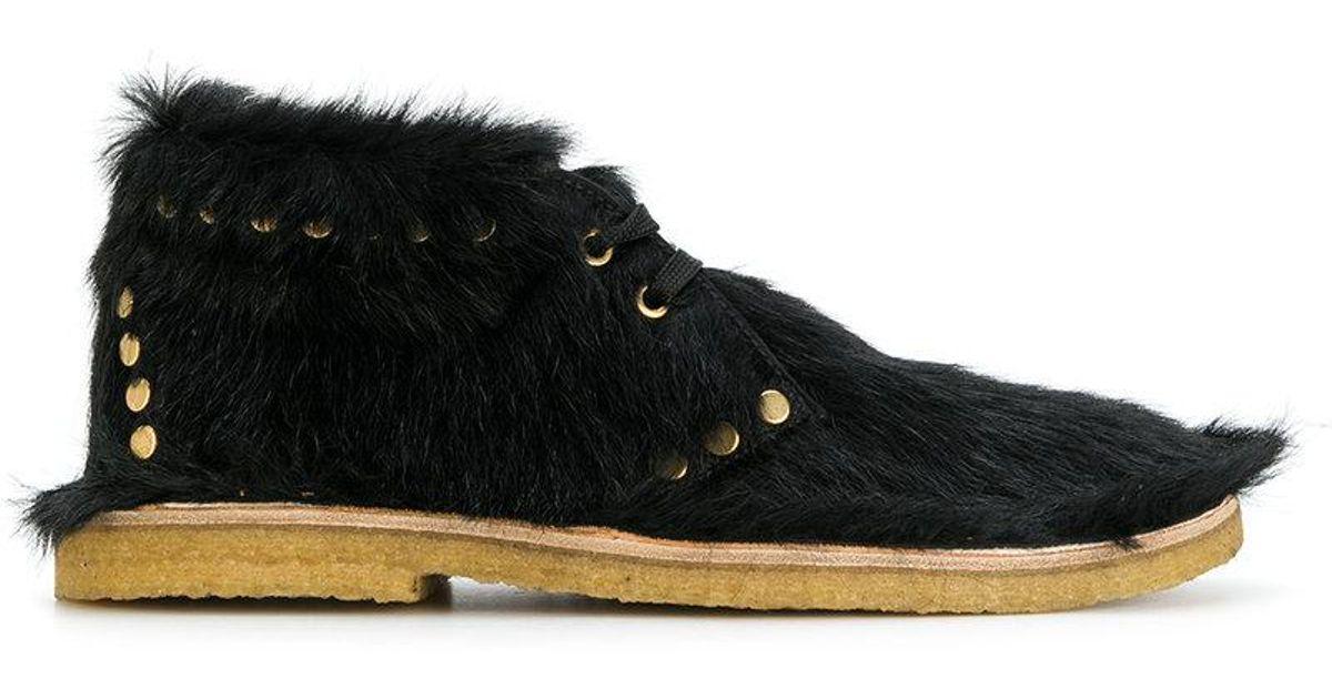 Prada Leather Calf Hair Desert Boots in