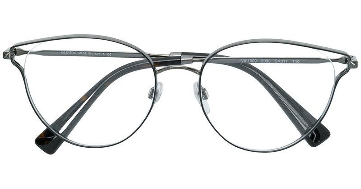 Valentino Eyewear Round Frame Glasses in Metallic - Lyst