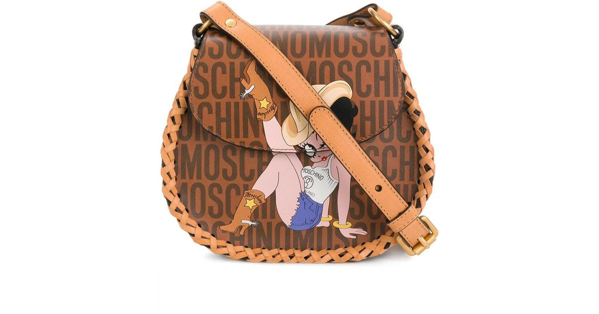 Betty Boop Shoulder Flap Bag in Camel Leather Moschino EYEJR