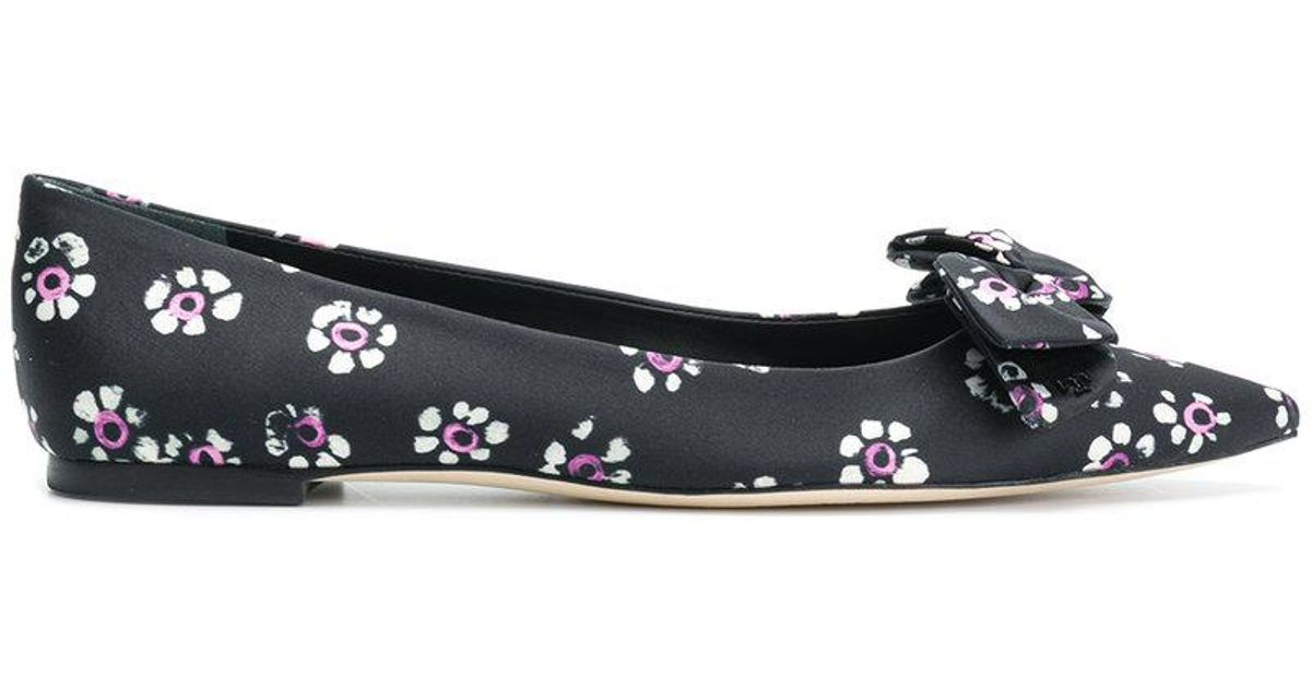 79dc759bf6ec63 Lyst - Tory Burch Rosalind Floral Ballet Flats in Black