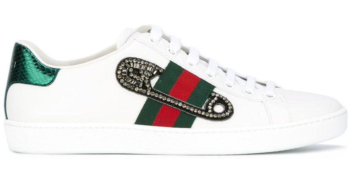 efd25052f5c Gucci White Gg Vintage Web Safety Pin Sneakers