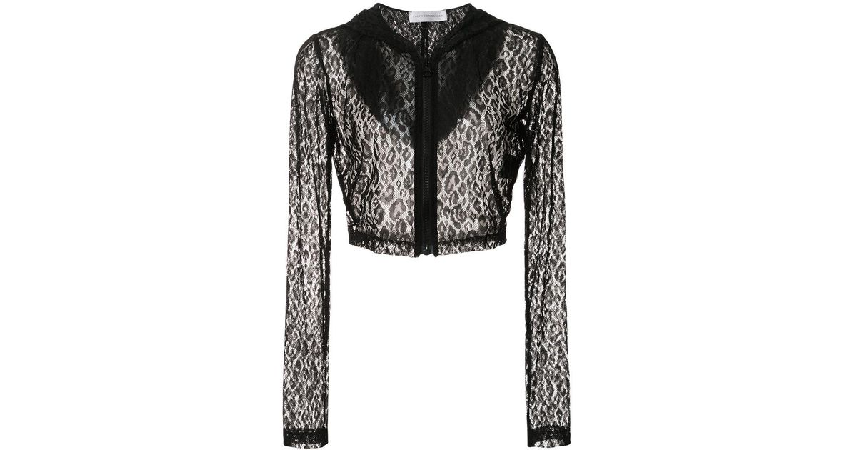 f0d53c6fac8 Lyst - Faith Connexion Lace Cropped Hoodie in Black