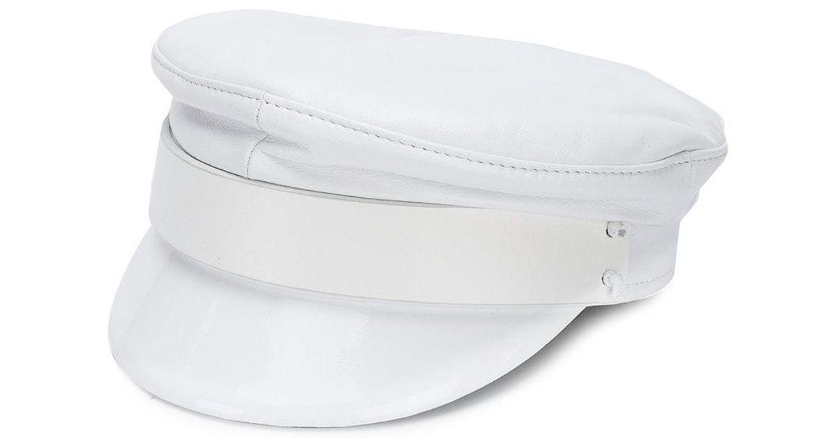 Lyst - Ruslan Baginskiy White Leather Baker Boy Hat in White - Save 18% eb409cab26e