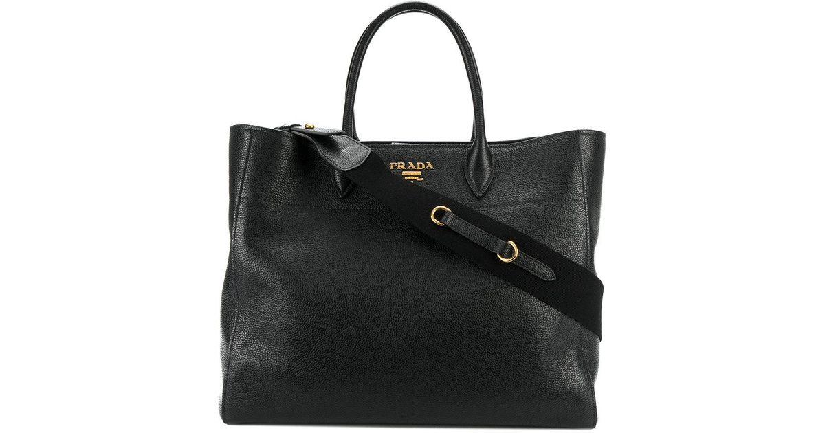 0ea01ac08a6d ... canada prada classic shopper tote in black lyst 531f6 d2876