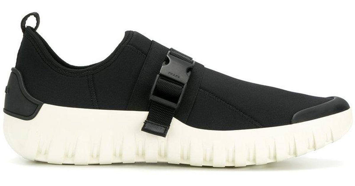 Prada Neoprene Buckle Sneaker in Black