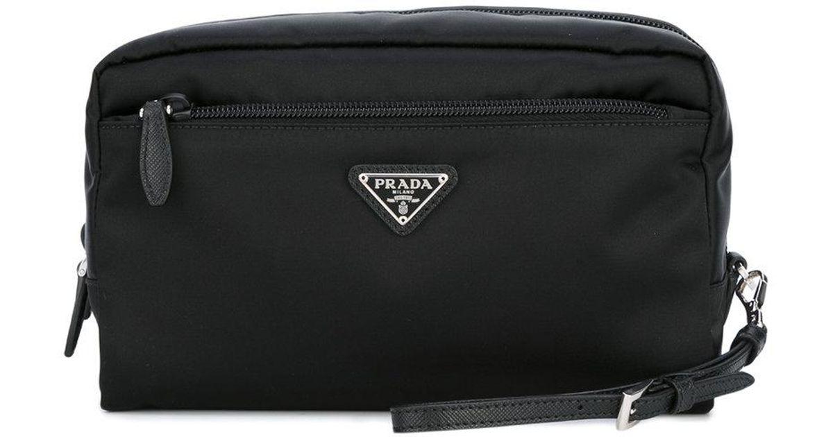 ... best price lyst prada logo plaque clutch bag women nylon one size in  black 235f5 35054 best prada diagramme leather ... 209813f0514f4