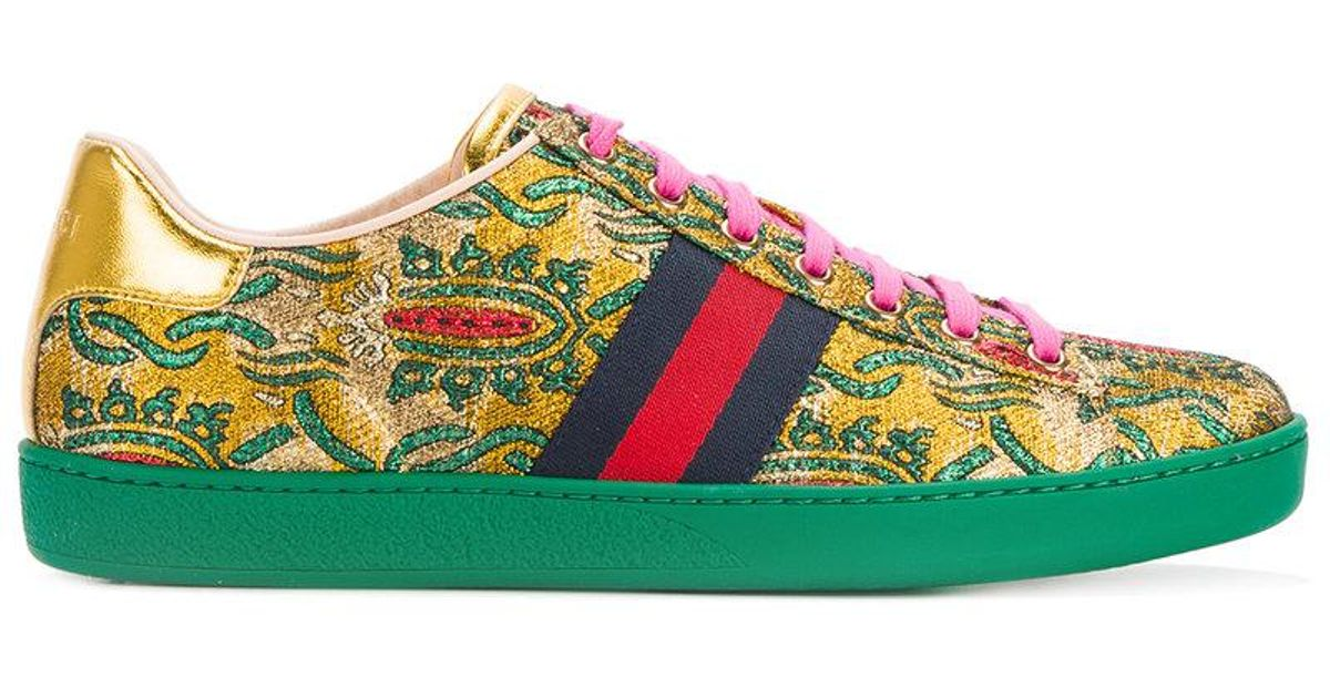 52c8a79560c Lyst - Gucci Ace Brocade Low-top Sneakers