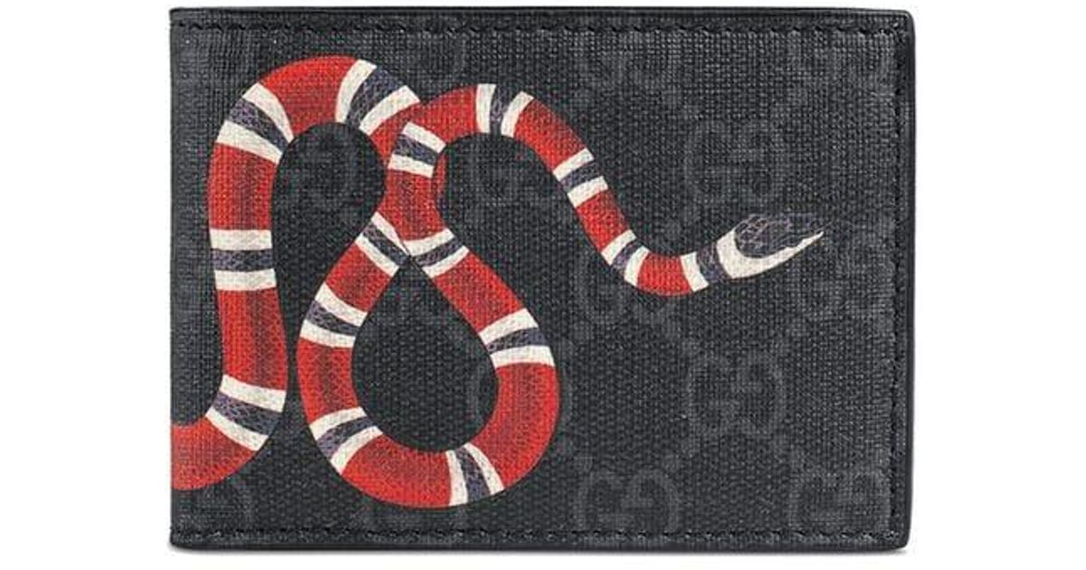 5cb8fd0f751 Lyst - Gucci Kingsnake Print GG Supreme Wallet in Black for Men