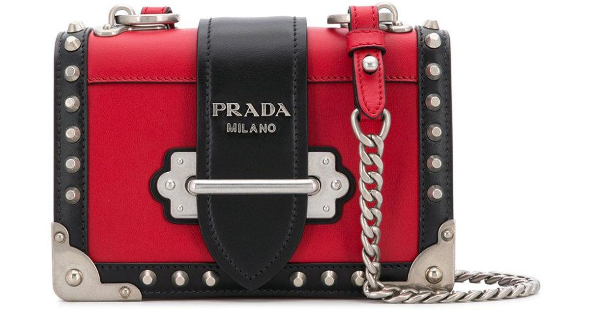 84788e2798 Prada Small Cahier Studs City Crossbody Bag in Red - Lyst