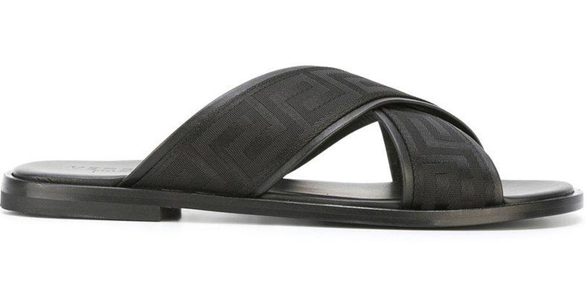 f3eda3250 Lyst - Versace Greek Key Crossover Sandals in Black for Men