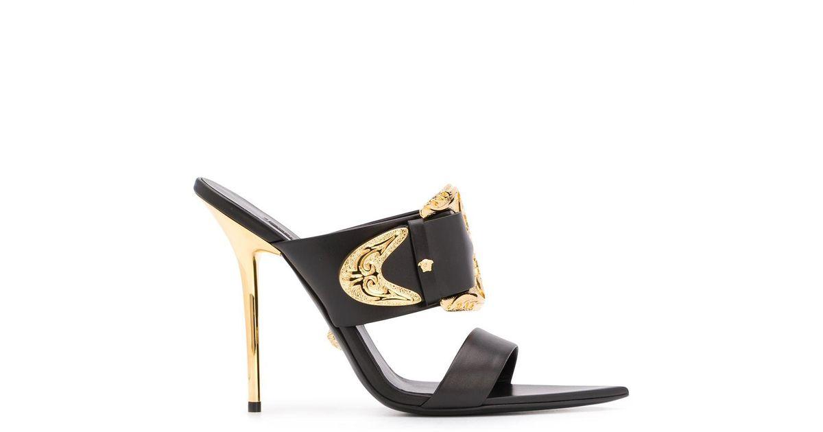 Versace Leather Baroque Buckle Sandals