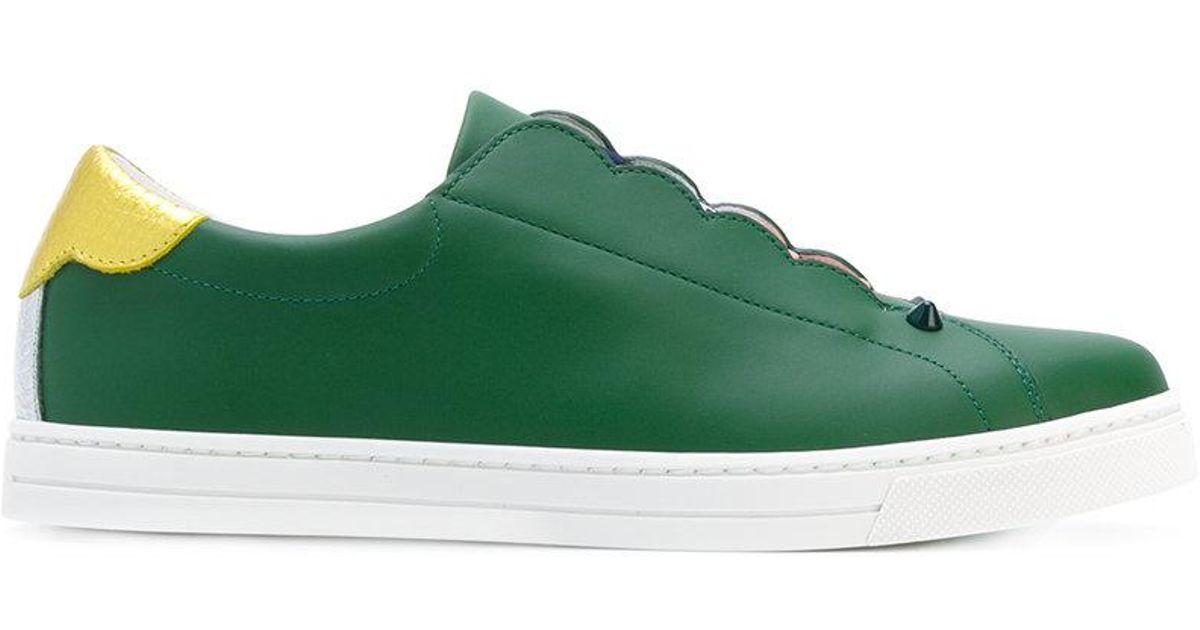 Fendi Leather Elastic Slip-on Sneakers