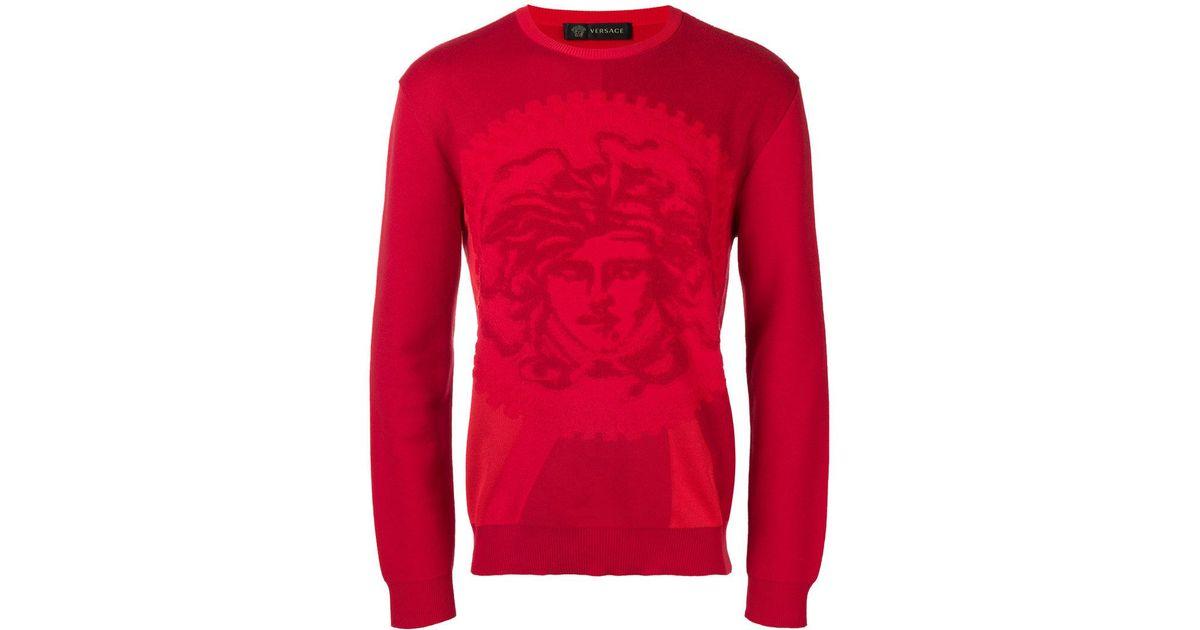 79277f8cf95e Lyst - Pull ajusté Medusa Versace pour homme en coloris Rouge