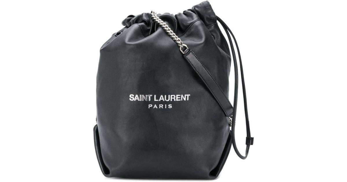 d797066e2e36 Saint Laurent Black Teddy Bucket Bag in Black - Lyst