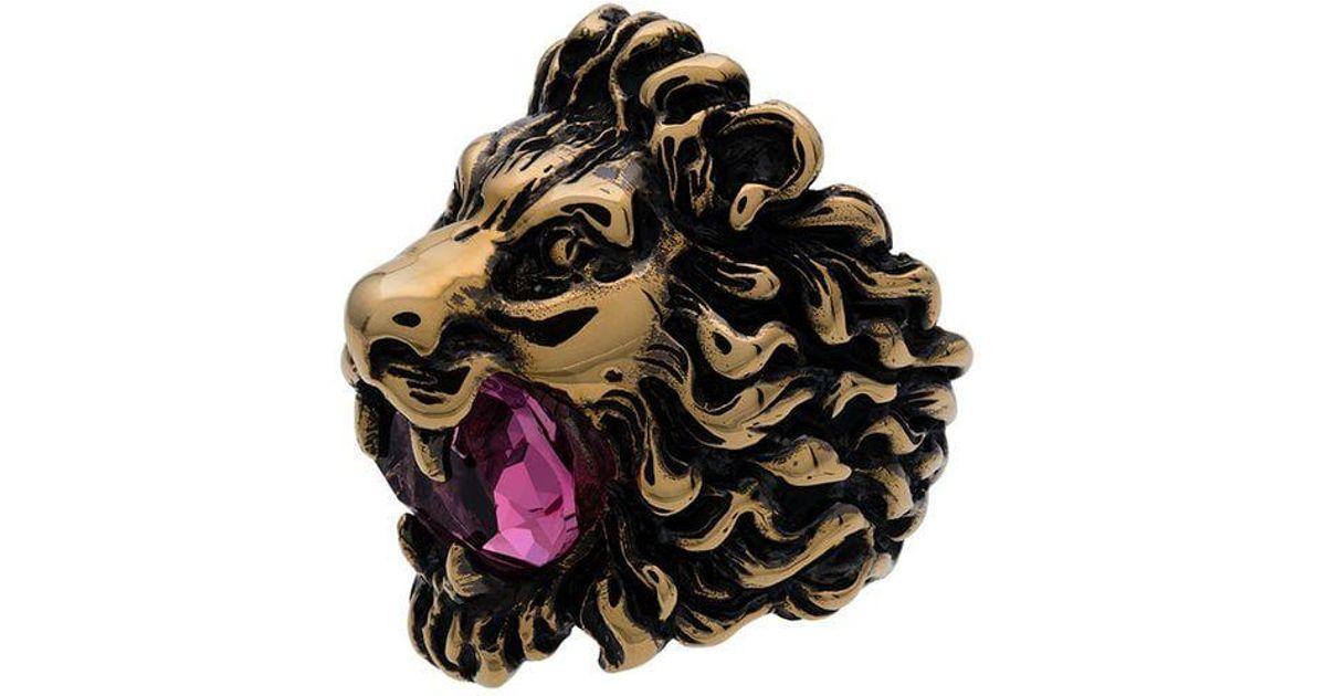 0de166e1642 Lyst - Gucci Gold-tone Lion Head Crystal Ring in Metallic
