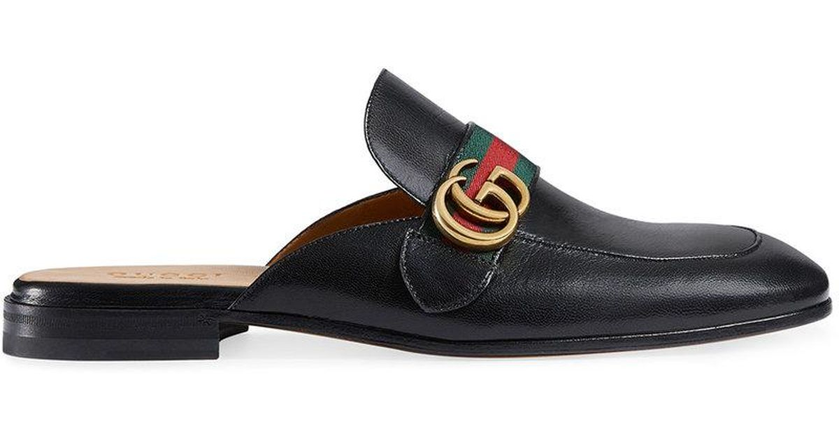 cb2b3d38af0 Lyst - Gucci Princetown Leather Slipper With Double G in Black for Men - Save  64%