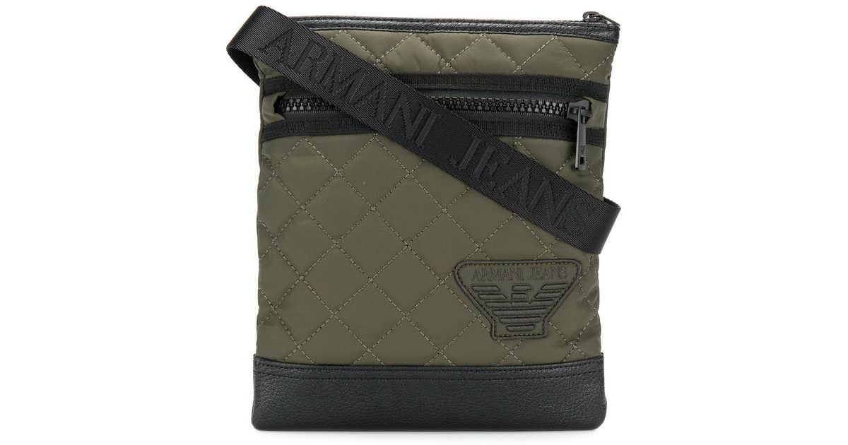 9ae40e62b6ab Armani Jeans Quilted Logo Messenger Bag in Green for Men - Lyst