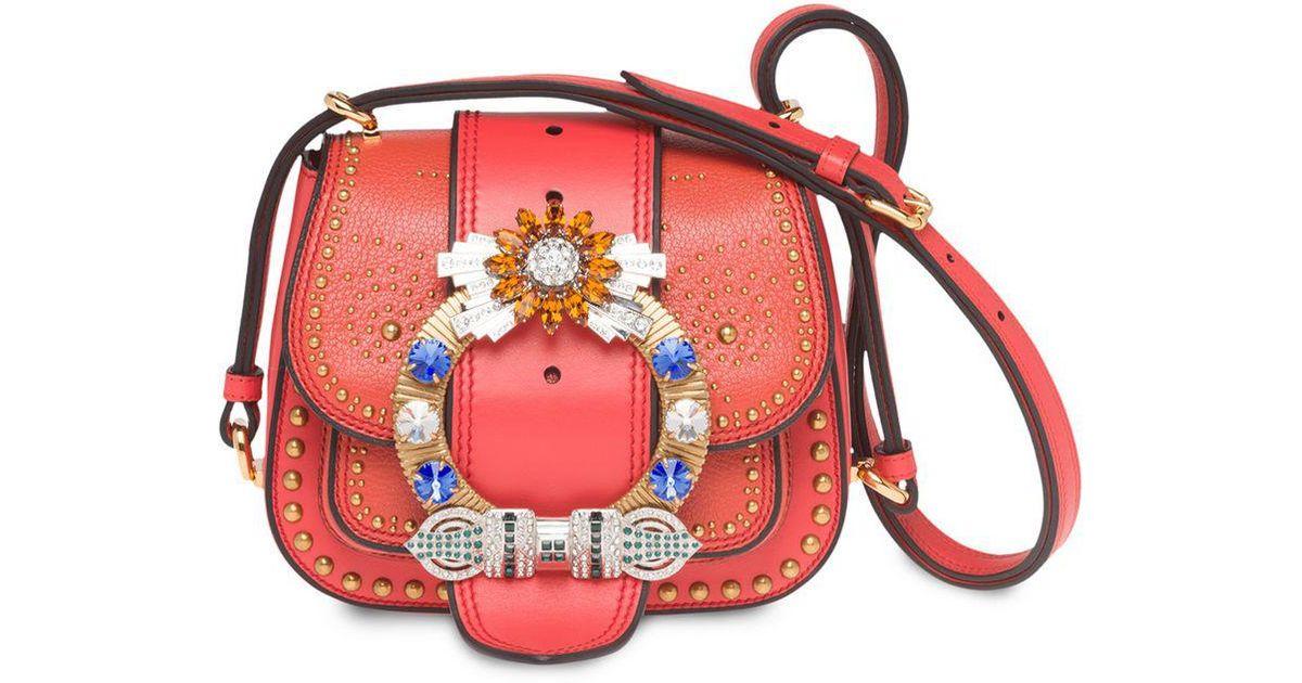 ffd21fb14408 Lyst - Miu Miu Madras Dahlia Bag