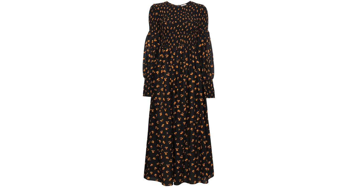 cbe59ead Ganni Beacon Printed Smocked Maxi Dress in Black - Lyst