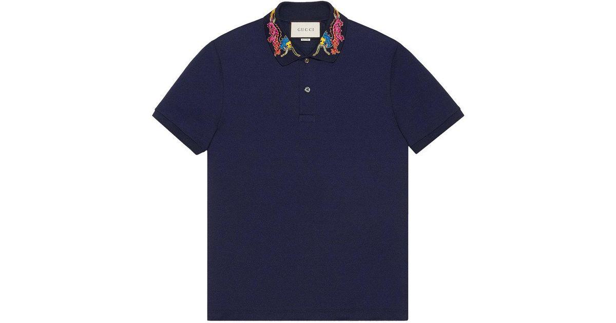 61e33e066 Gucci Dragon Embroidered Collar Polo Shirt in Blue for Men - Lyst