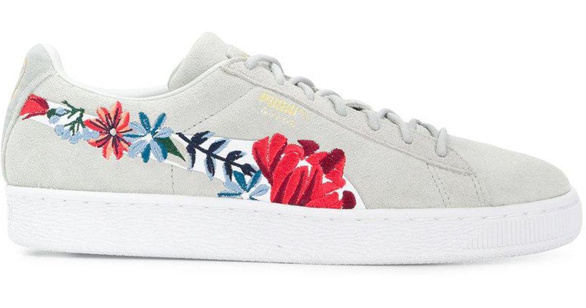 Baskets Hyper à fleurs brodées PUMA en coloris Gray