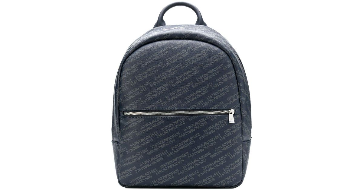Lyst - Emporio Armani All Over Logo Backpack in Blue for Men 2411f091722b7