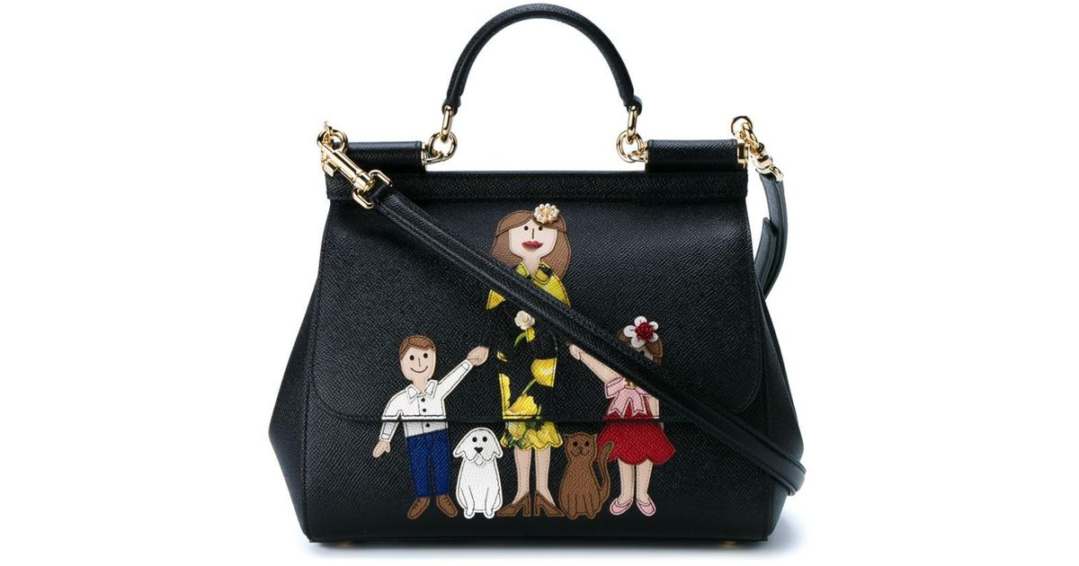 0ab42eb324 Lyst - Dolce   Gabbana Family Print Leather Satchel in Black