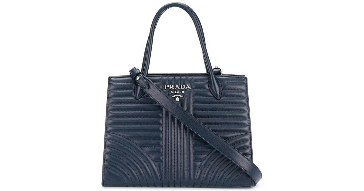 f27187a33be Prada Diagramme Tote Bag in Blue - Lyst