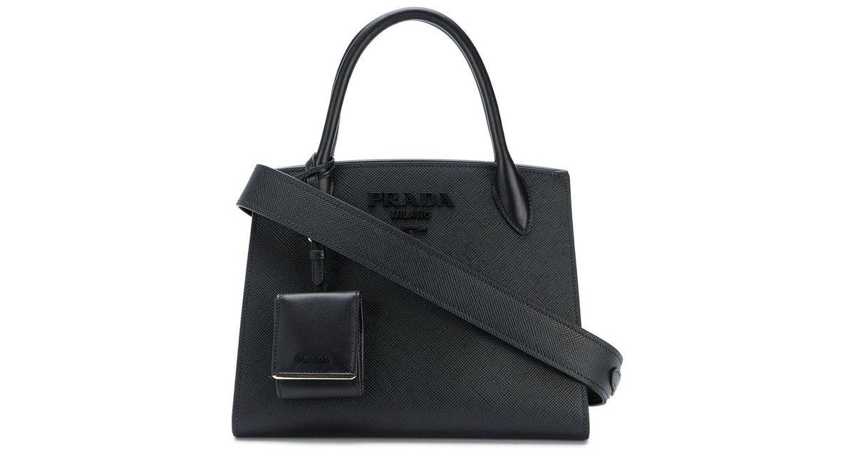 629110d2da1b Prada Small Paradigm Tote Bag in Black - Save 2% - Lyst