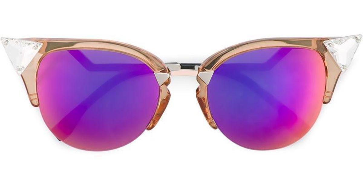 d7093f80a2 Lyst - Fendi Multicoloured Iridia Cat-eye Sunglasses in Metallic