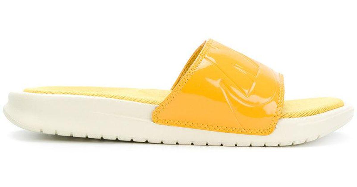 nike rubber benassi jdi ultra lux w in yellow  u0026 orange  yellow