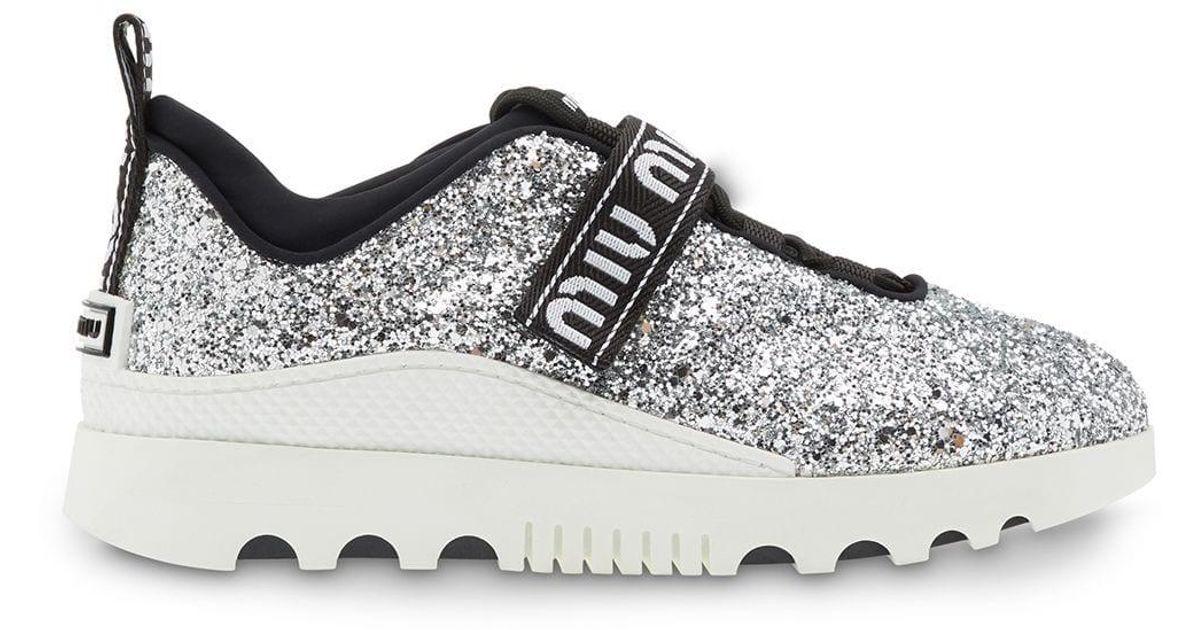 Miu Miu Rubber Miu Run Glitter Sneakers