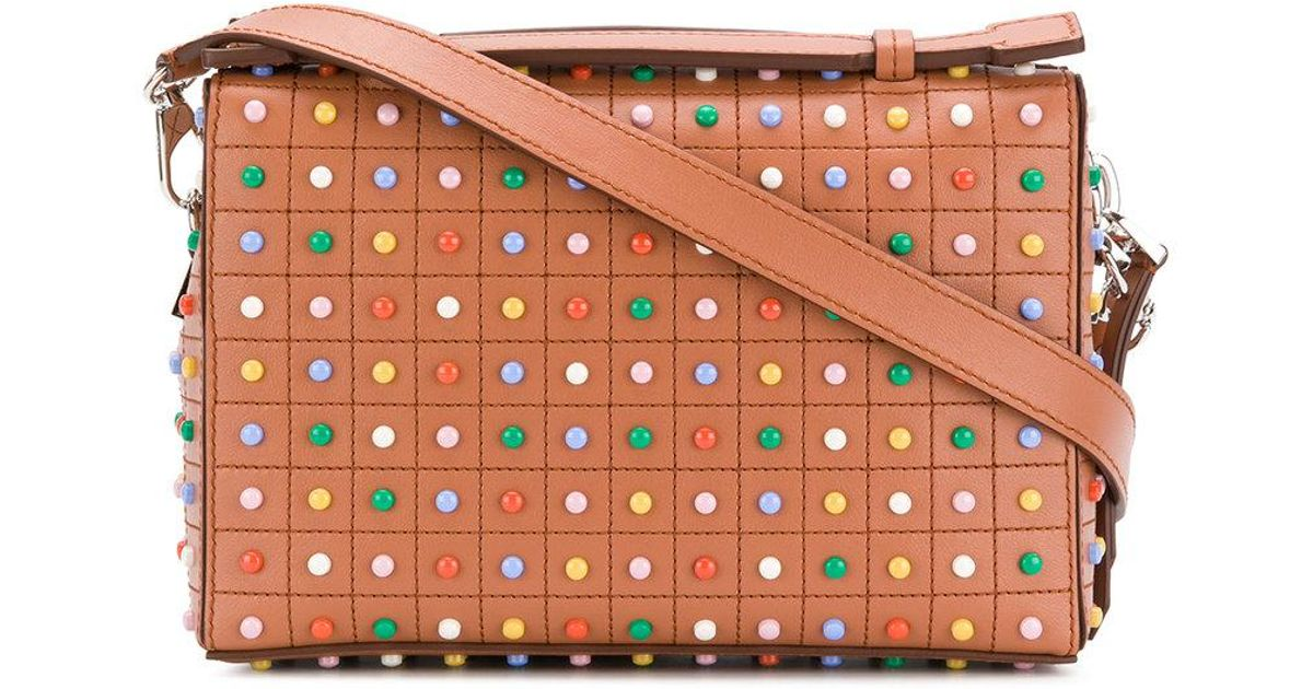 ee7fe0574fc1 Lyst - Tod s Mini Gommino Rainbow Studded Crossbody Bag in Brown