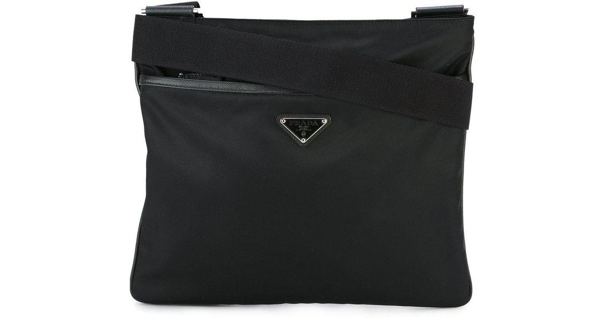 Lyst - Prada Nylon Messenger Bag in Black for Men d6c814b83c2e8