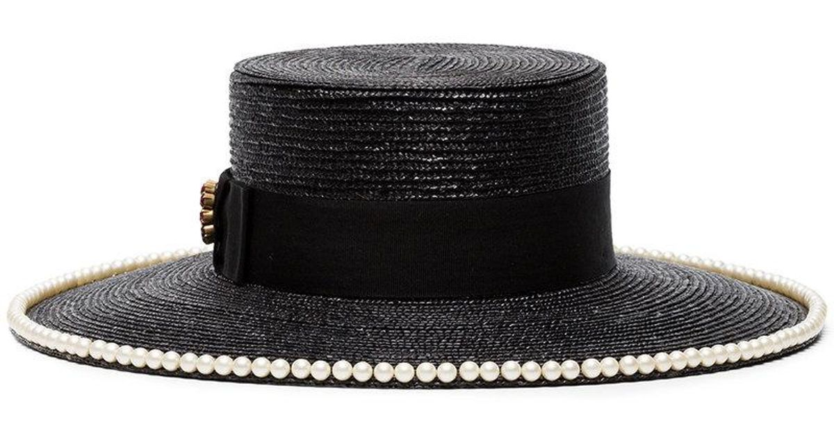 29ee93ec064a6 Gucci Black Pearl Embellished Straw Hat in Black - Lyst