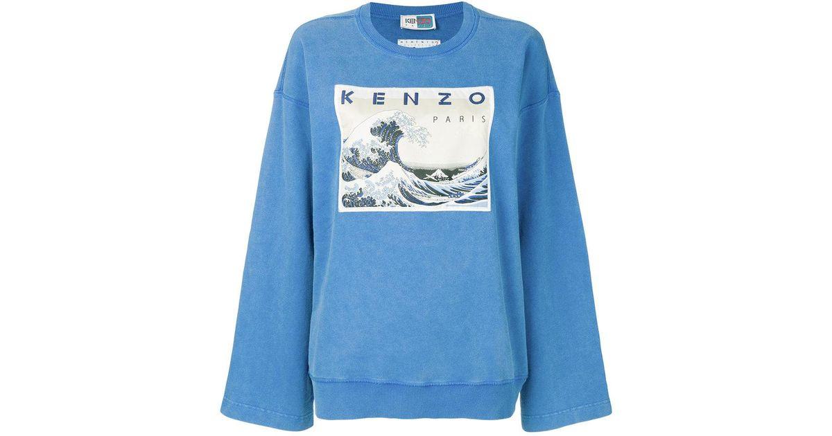 Kenzo Blue Kanagawa Memento Coloris Wave Sweat En m0NwvO8n