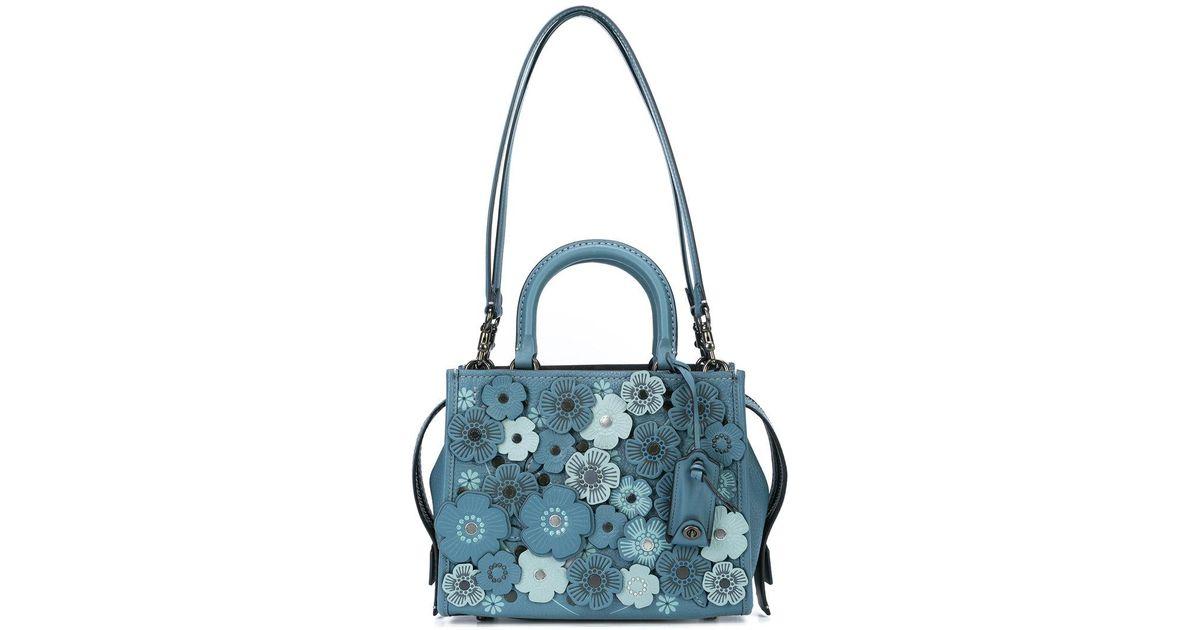 a8de22d90c COACH Blue Tea Rose Rogue 25 Bag