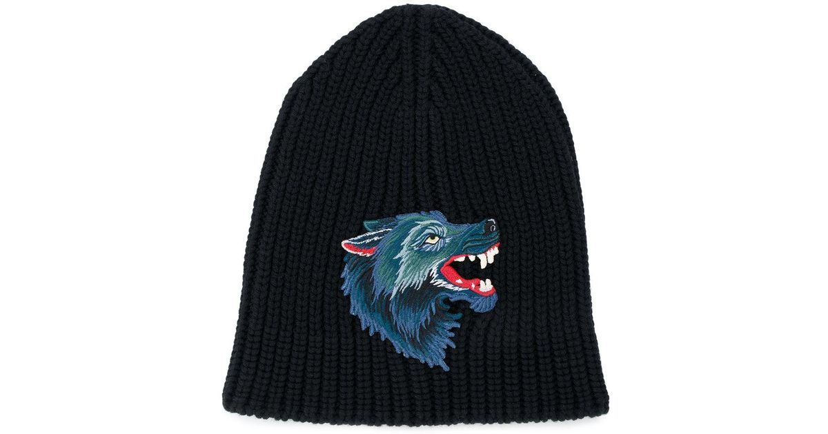 166ea150842 Lyst - Gucci Knitted Wolf Hat in Black for Men
