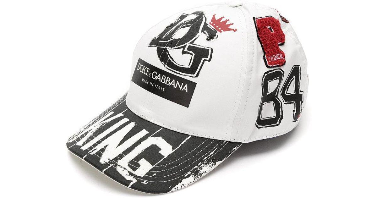 be70fd87c52ef Lyst - Gorra de béisbol con estampado King Dolce   Gabbana de hombre de  color Blanco