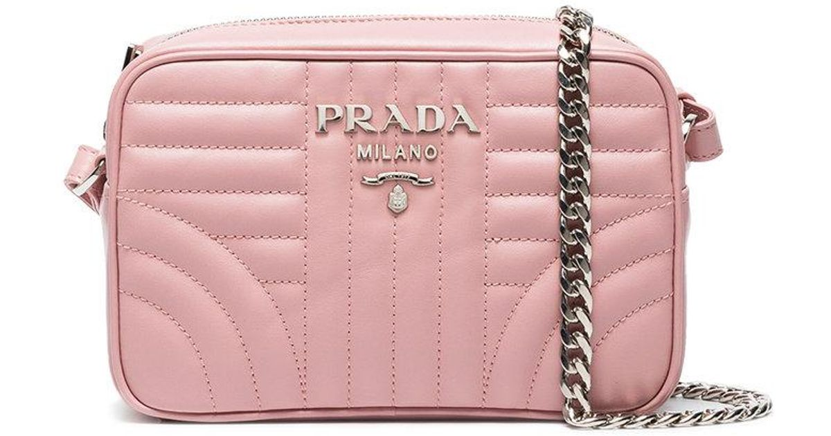 Prada Diagramme Quilted Crossbody Bag in Pink - Save 35% - Lyst 53dc64cb67e53