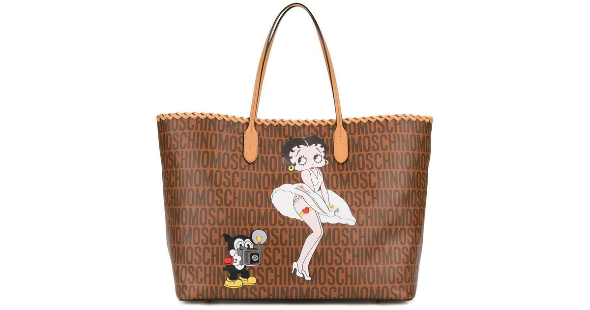 Moschino Leather Betty Boop Tote In Brown Lyst