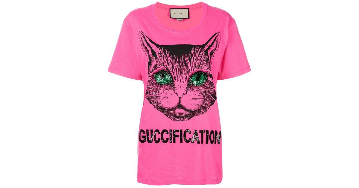 2ccd0b6f Gucci Fication Print T-shirt in Pink - Lyst