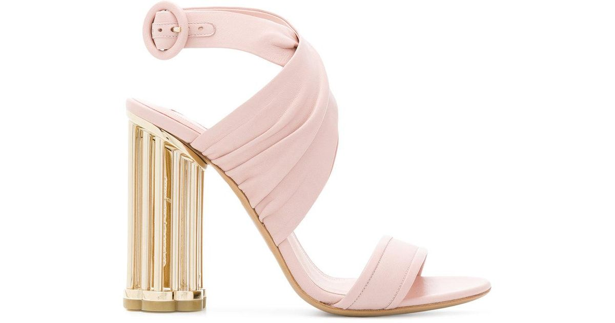 Lyst ferragamo flower heel sandals in pink mightylinksfo
