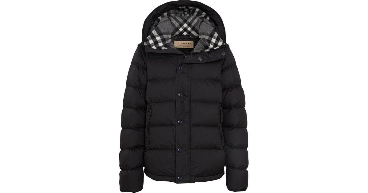 best wholesaler where to buy new design Burberry Wool Check Padded Coat in Black for Men - Lyst