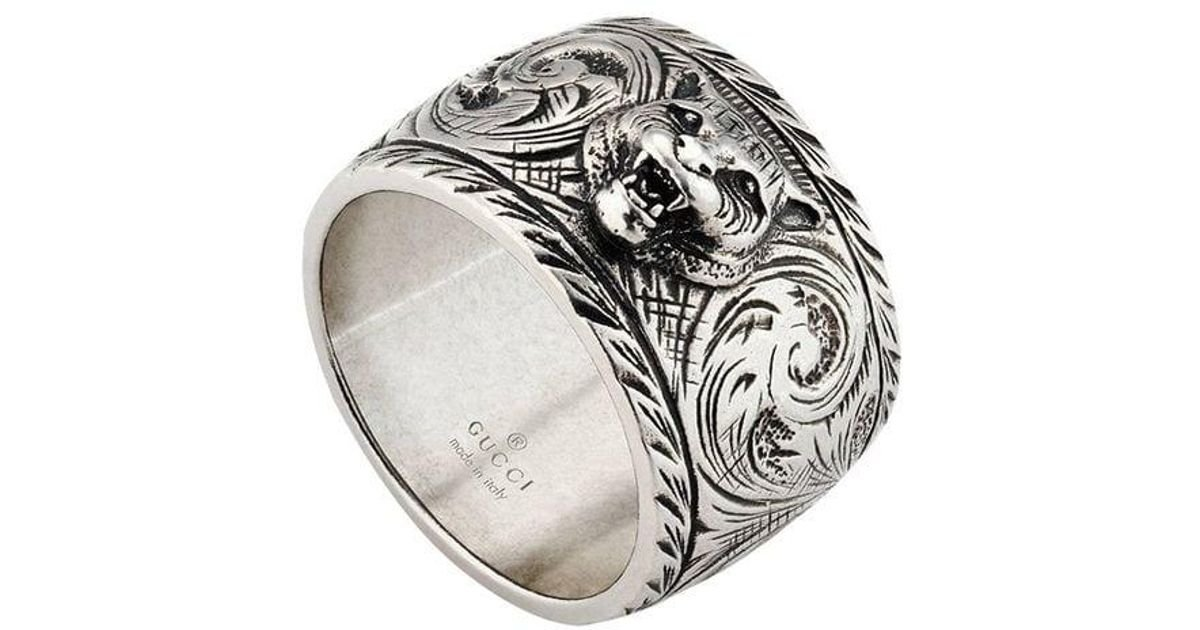 46206f711 Gucci Wide Silver Ring With Feline Head in Metallic for Men - Lyst