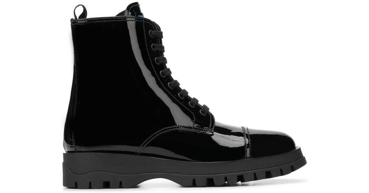 e1ab11ffb15da Prada Black Varnish Lace Up Boots