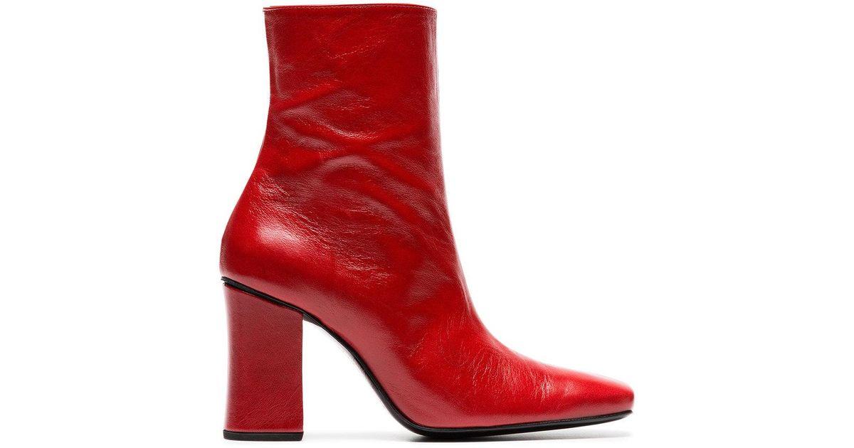 Dorateymur red sybil leek 90 leather ankle boots cheap pre order eBdbNMtKQ