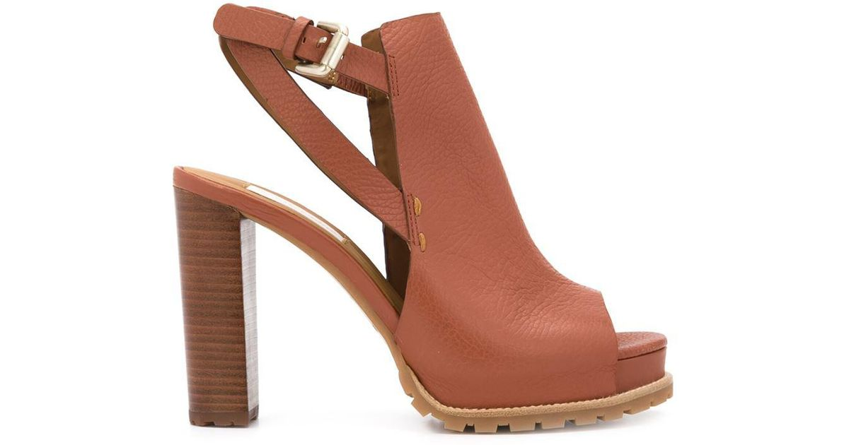 Lyst - See By Chloé Chunky Heel Sandals in Brown