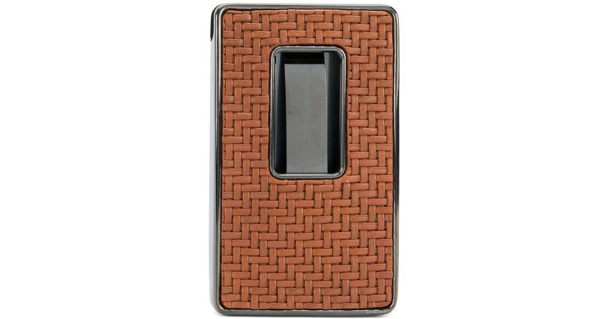 Ermenegildo zegna woven business card holder in brown for men lyst reheart Images